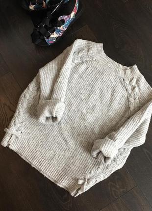 Красивый мягкий серый свитер zara1