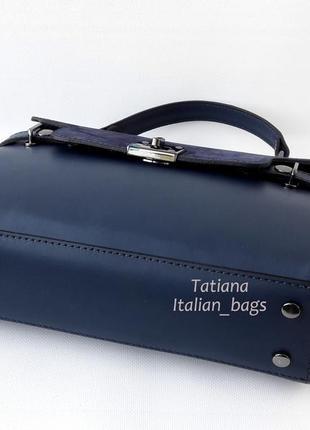 Кожаная сумка портфель с замшевым верхом, синяя. италия4