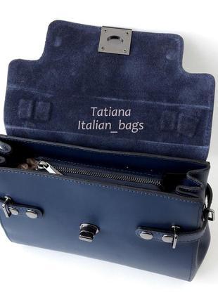 Кожаная сумка портфель с замшевым верхом, синяя. италия5