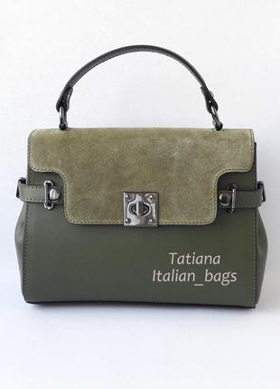 Кожаная сумка портфель с замшевым верхом, зеленая хаки. италия