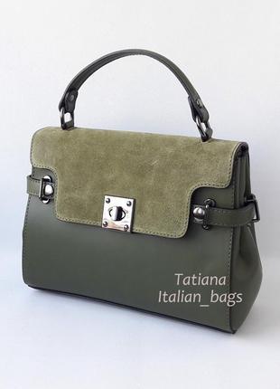 Кожаная сумка портфель с замшевым верхом, зеленая хаки. италия2