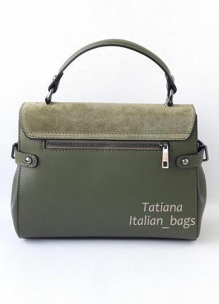 Кожаная сумка портфель с замшевым верхом, зеленая хаки. италия3