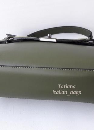 Кожаная сумка портфель с замшевым верхом, зеленая хаки. италия4