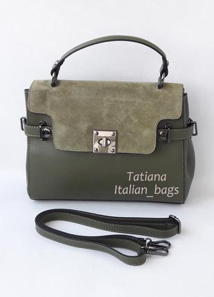 Кожаная сумка портфель с замшевым верхом, зеленая хаки. италия5