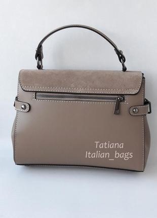 Кожаная сумка портфель с замшевым верхом, тауп. италия4