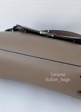 Кожаная сумка портфель с замшевым верхом, тауп. италия5
