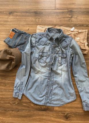 Крутая джинсовая рубашка1