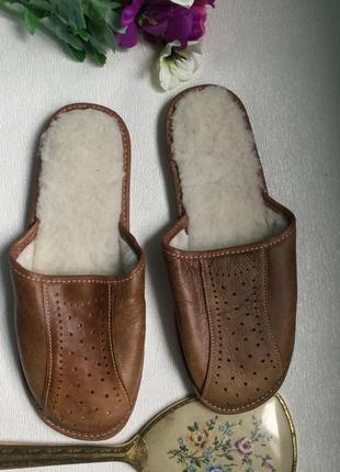 Шлепки тапочки кожаные шерстяные1