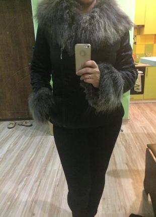 Стильная короткая куртка осень-зима с мехом