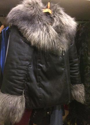 Стильная короткая куртка осень-зима с мехом2