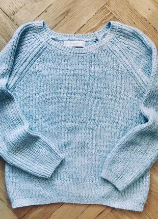 Вязаный голубой свитер 💜1