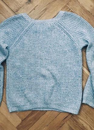 Вязаный голубой свитер 💜2