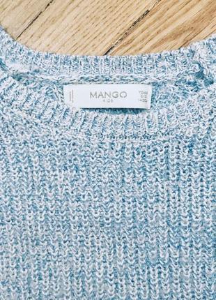Вязаный голубой свитер 💜3