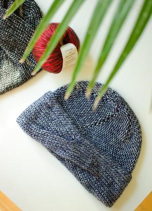 Шапочка блискуча сіра з голубим відливом типу чалми ( блестящая чалма)1