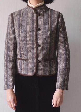 Винтажный шерстяной пиджак жакет лёгкое полупальто из 100% шерсти винтаж3