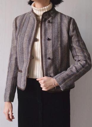 Винтажный шерстяной пиджак жакет лёгкое полупальто из 100% шерсти винтаж