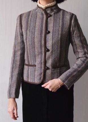 Винтажный шерстяной пиджак жакет лёгкое полупальто из 100% шерсти винтаж2