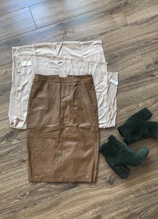 Кожаная коричневая юбка1