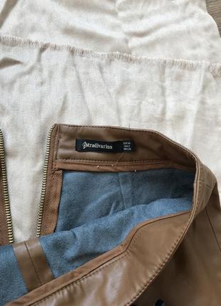Кожаная коричневая юбка3