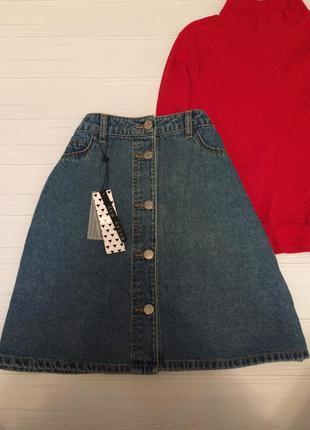 Джинсова юбка трапеція1