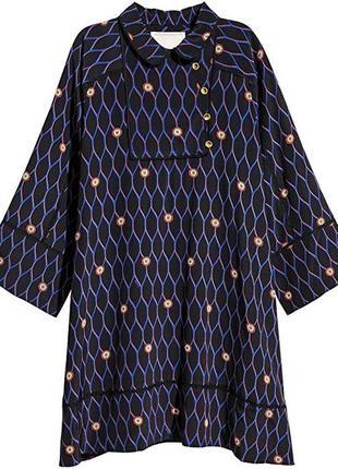 Шелковое платье трапецыя kenzo×h&m m,новое шелковое свободное платье трапецыя1