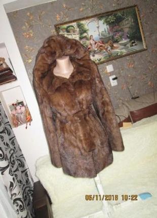 Роскошная норковая шуба капюшон 44р.