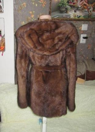Роскошная норковая шуба капюшон 44р.2