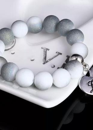 Браслет с сердечком белый серый серебряный1
