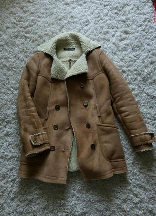 Дубленка бежевая пальто куртка бомпер парка бойфренд зефирка одеялко на овчине1