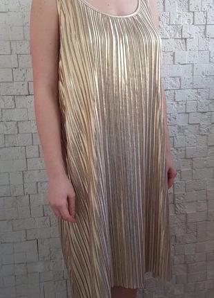 Праздничное новогоднее золотое плиссированное платье плисе h&m1