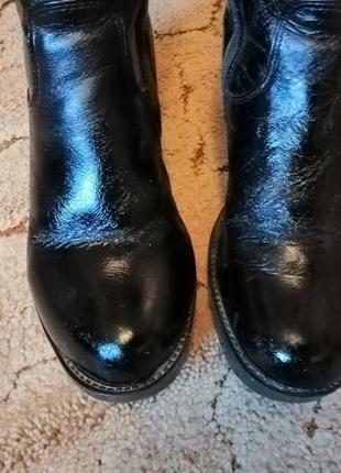 Зимние кожаные лакированные сапоги сапожки  на меху цегейка украина на каблуку 39размер2