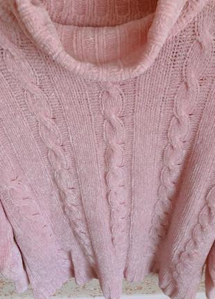 Теплый плюшевый свитер с горловиной2