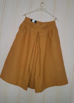 Жгуче-яркая и остро-модная: шерстяная юбка-кюлоты горчичного цвета!!!1