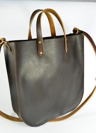 Кожа. ручная работа. вместительная кожаная коричневая сумка, сумочка, шопер, шоппер5