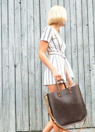 Кожа. ручная работа. вместительная кожаная коричневая сумка, сумочка, шопер, шоппер2