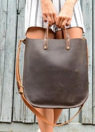 Кожа. ручная работа. вместительная кожаная коричневая сумка, сумочка, шопер, шоппер1