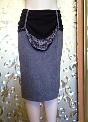 Серая шерстяная юбка next, 10 размер, турция, шарф в подарок.1