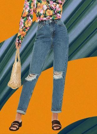 Джинсы mom 38-m,синие високие джинсы mom с дирками на коленях cropped straight jeans