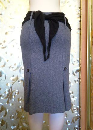 Серая шерстяная юбка next, 10 размер, турция, шарф в подарок.2