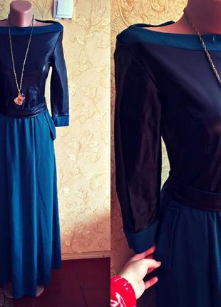 Платье вечерное,платье в пол с елементами кожи1