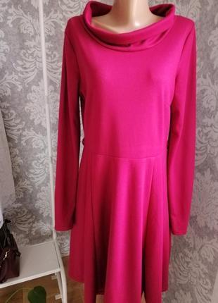 Трикотажные платье миди винного цвета с пышной юбочкой1