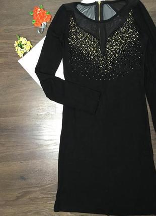 Коктельное праздничное платье /сеточка /камни /миди платье4
