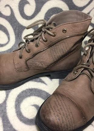 Шикарные, модные, ботинки, 100% натуральная кожа (нубук) 39р. 25-25,5см. германия.1