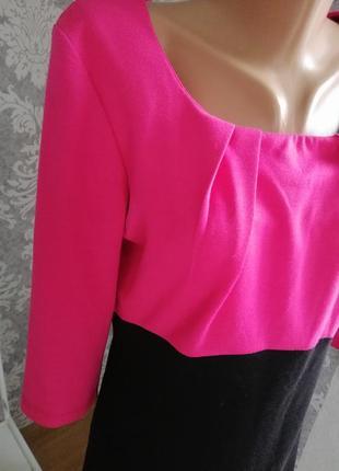 Трикотажная туника блуза розовое с чёрным1