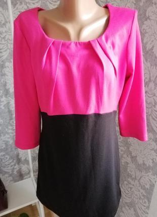Трикотажная туника блуза розовое с чёрным3