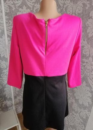 Трикотажная туника блуза розовое с чёрным2