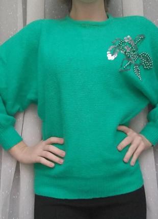 Теплый , приятный зелёный свитер с узором4