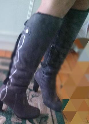 Замшевые  высокие графитовые сапоги с ис мехом зима5