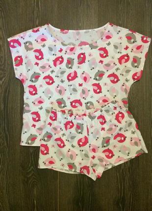 Хлопковая пижама футболка и шорты1