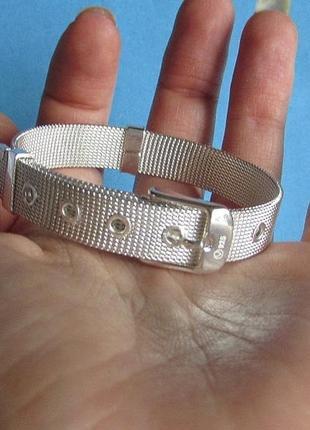 Стильный браслет ремень в серебре 925, новый! арт.5283